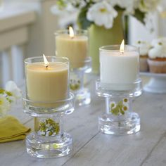 DIY Its easy to be creative with these Clearly Creative Reversible Multi Candle Holder Pair. Glass, candles, white, tan, flowers, summer, centerpiece http://www.partylite.biz/legacy/sites/nikkihendrix/productcatalog?page=productdetailsearch=truesku=P91126