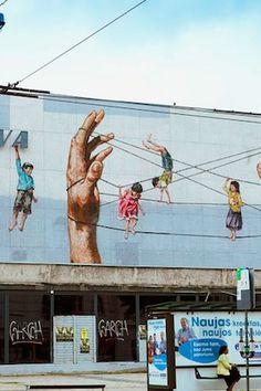 Ernest Zacharevic - Lieruva, #urbanart in Vilnius, Lithuania. #graffiti