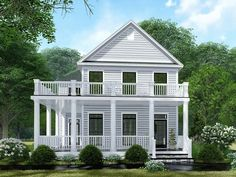 Lovely Colonial House Plan with Stacked Wrap-Around Porches - -Plan Lovely Colonial House Plan with Stacked Wrap-Around Porches - - The eye-catching, stacked porches wrap around this Colonial-style house plan, clad in horizontal siding.The main l. Porch House Plans, Colonial House Plans, Colonial Style Homes, Country Style House Plans, Cottage House Plans, Cottage Homes, House Floor Plans, Country Houses, Coastal House Plans
