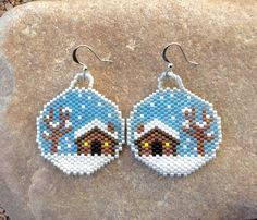 Winter Cabin Snow Glo Beaded Earrings by DoubleACreations on Etsy