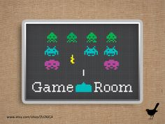 Cross stitch pattern: Space invaders - Game Room Sign by ZUZKICA