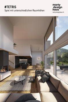 Grosse Öffnungen tragen das #Licht weit in die #Räume und verbinden gleichzeitig das Innere mit dem grünen #Aussenraum. Inspiration, Design, Detached House, Build House, Projects, Biblical Inspiration, Design Comics, Inhalation