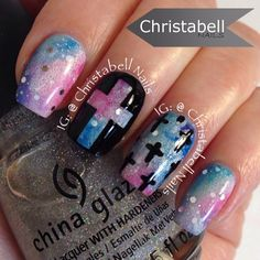 .@christabellnails | I modified my Galaxy nails with these crosses #nailartfeb #notd #galaxynails ... | Webstagram