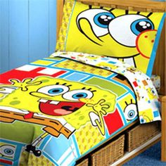 Spongebob Squarepants Toddler Bedding Set - 4pc Comforter Bed Set @ niftywarehouse.com #NiftyWarehouse #Spongebob #SpongebobSquarepants #Cartoon #TV #Show