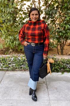 Mindy Kaling's Red Plaid Sweater and Jeans on Instagram Holiday Fashion, Holiday Outfits, Holiday Style, Mindy Kaling, Sweaters And Jeans, Tartan Plaid, Wide Leg Jeans, Nice Dresses, Mom Jeans
