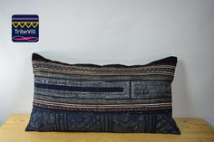 """Vintage Pillow Cover, Hill Tribe Textile Decorative Pillow Handmade Cotton and Hemp Embroidered Eco Friendly 12"""" x 22"""" HCB0007"""