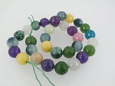 Sale! Multi color faceted gemstone beads, 12mm round jade beads DIY loose beads by Susiesgem on Etsy