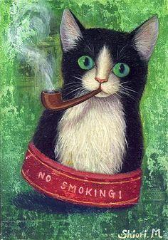 Shiori Matsumoto, Smoking Cat, 1997 [collage, oil on canvas]