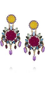 Erickson BeamonI Never Promised You A Rose Garden gold-plated Swarovski crystal clip earrings. Luscious!