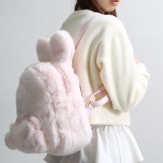 "kawaii pink bunny fuzzy backpack  Coupon code ""cutekawaii"" for 10% off"