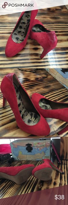 "NWOT Sam Edelman Red Suede Pump 3"" heel, never worn. Sam Edelman Shoes Heels"