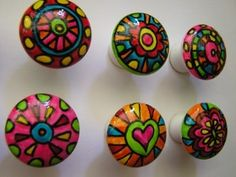 Hand painted porcelain cabinet dresser knobs pulls handles by ARToutOFherM.