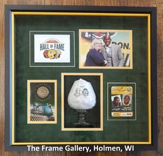 If you have NFL memorabilia tucked away, get it out and bring it to us!  We can artfully arrange your items in a #shadowbox that will leave you smiling!  Holidays are coming.  Something like this would make an awesome gift!  What are you waiting for? 😃  #pictureframing #lacrossewi #galesvillewi #holmenwi