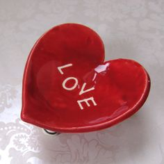 red LOVE ceramic pink heart dish  proposal ring dish by maryjudy, $20.00