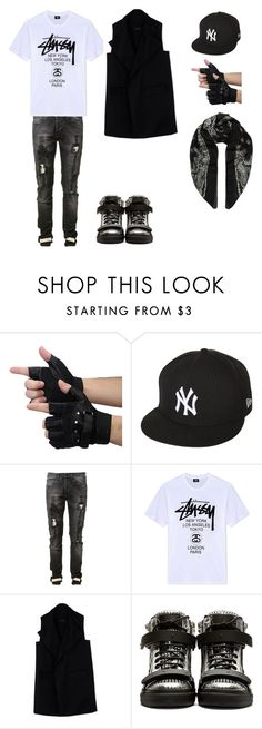 """men 16"" by gulvirabaeva on Polyvore featuring New Era, Off-White, Stussy, Rad by Rad Hourani, Giuseppe Zanotti, Yves Saint Laurent, men's fashion и menswear"