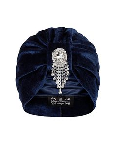 8 Just like Grandma's turban, only with a brooch...   Navy Velvet Turban with Sparkle Hanging Detail by TheFHBoutique