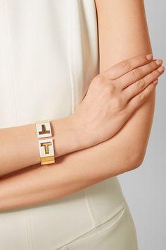 Tiffany & Co. | T Cutout 18-karat gold and ceramic cuff | NET-A-PORTER.COM