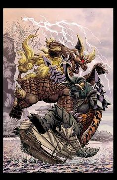 King Caesar vs. Megalon...  Godzilla: Rulers of Earth Issue #9 Cover Art by Jeff Zornow