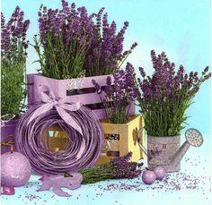 4 servilletas de papel decoupage Potes de flor de lavanda