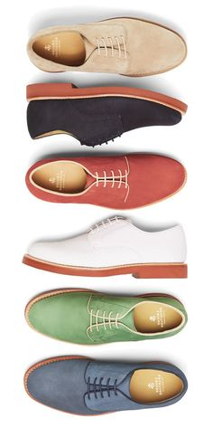Dressed up or down, Brooks Brothers suede bucks in signature red brick soles lend color and dandy appeal to any summer outfit.