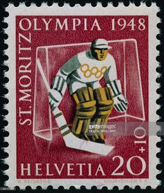 Postage stamp commemorating the Winter Olympic Games in St. Moritz ...