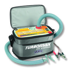 BRAVO TURBOMAX AIR-STATION 12 VOLT The Turbomax has two powerful motors and when the pump starts it will be on a high pressure pump (turbine)until it reaches a certain psi and then it will automatically switch over to the high pressure (piston)pump to inflate the item to a set pressure. Once reaching the set pressure it will automatically switch off.