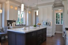 Love the white cabinets and marble for kitchen. Revere Pewter Kitchen