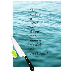 Kess InHouse Debbra Obertanec 'Crave Love' Blue Ocean Cutting Board