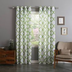 Best Home Fashion Reverse Moroccan Print Velvet Curtains - Stainless Steel Nickel Grommet Top - Green - x - (Set of 2 Panels) -- You can find out more details at the link of the image. (This is an affiliate link and I receive a commission for the sales) Moroccan Curtains, Orange Curtains, Velvet Curtains, Sheer Curtain Panels, Sheer Curtains, Panel Curtains, Moroccan Print, Moroccan Design, Window Coverings
