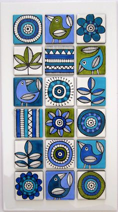 Hand painted tiles. lime and aqua design                                                                                                                                                     Más