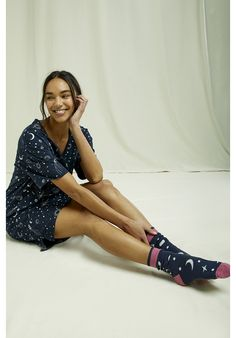 Lightweight, organic and breathable nightwear dress. This comfortable pyjama collection is printed with an intricate galaxy design and made from the softest 100% GOTS certified organic cotton in navy and eco-white–perfect for lounging or sleeping. Made by People Tree Fair Trade producer partner Assisi. Galaxy Design, Fair Trade, Nightwear, Organic Cotton, Kimono Top, Pajamas, Navy, Printed, People