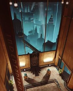 The city of Rapture, from BioShock. This videogame's environment is full of art deco. Bioshock 2, Bioshock Infinite, Bioshock Rapture, Fallout New Vegas, Fallout 3, Underwater City, Arte Cyberpunk, Beyond The Sea, Water Element