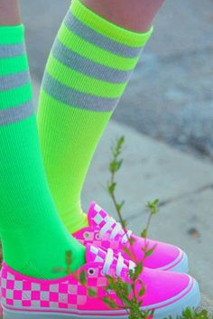 Rockin the neon socks & tennis shoes!!!! <3