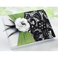 Gästebuch mit weißer Rose und Spitze in grün schwarz