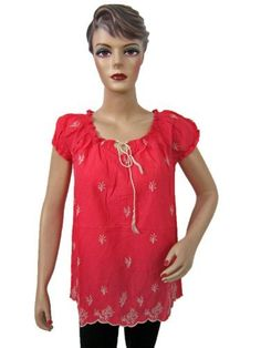 Womens High Fashion Tunic Red Floral Embroidered Cotton Feminine Trendy Blouse Top Small Size Mogul Interior, http://www.amazon.com/dp/B008AGTBLK/ref=cm_sw_r_pi_dp_8nC1pb1Z6PH8T