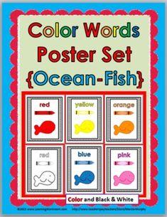 Color Words Poster Set - Ocean/Fish Theme