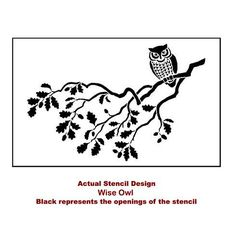 Cutting Edge Stencils - Wise Owl Stencil -Note to self: don't stencil the leaves, leave the branch bare and add cobwebs-