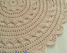 Round white doily rug / 115 cm handmade by ForHomeAndSoul Crochet Rug Patterns, Crochet Motifs, Doily Rug, Doilies, Homemade Rugs, Rag Rug Tutorial, Knit Rug, Crochet Carpet, Crochet Round
