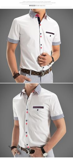 Casual shirt with colour detailed buttons