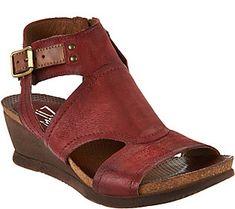 9be397c8f49c28 Miz Mooz Leather Side Zip Wedge Sandals - Scout Miz Mooz