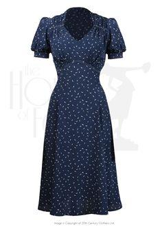 1940s Perfect Tea Dance Dress in Starling Rayon Crepe