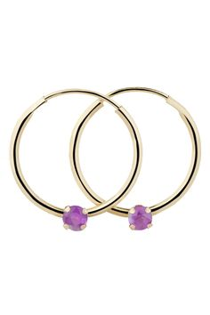 Bijoux Majesty 0.22 ct Amethyst Hoop Earrings In 10k Yellow Gold