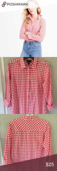 J. Crew Boy Shirt in Coral Crinkle Gingham Check A closet essential: This boyfriend-inspired fit is tailored enough to be flattering but maintains a laid back look. Crinkle cotton.  Long roll-up sleeves. Button placket. Machine wash. Gently used. Perfect condition. Length approx. 28in. J. Crew Tops Button Down Shirts