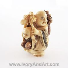 Mammoth Ivory Netsuke - Buddha Carrying Kid in Jute Bag