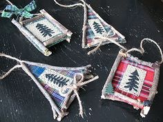 Rustic North Woods Ornaments - moose, bear, fish, cabin favorites - Crafts by Amanda with tut. Fish Ornaments, Fabric Ornaments, Wood Ornaments, Handmade Ornaments, Christmas Lodge, Christmas Deco, Rustic Christmas, Christmas 2017, Christmas Time
