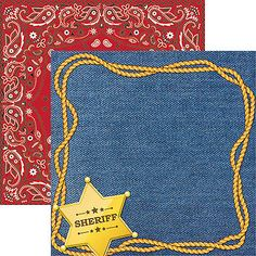 Reminisce SHERIFF 12x12 Dbl-Sided (2PCS) Scrapbooking Papers DENIM ROPE BANDANA