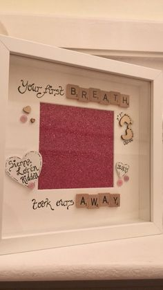 Baby gift / scrabble frame / your first breath took ours away Baby Photo Frames, Box Picture Frames, Baby Frame, Box Frames, Picture Ideas, Scrabble Tile Crafts, Scrabble Art, Scrabble Letters, Personalised Frames