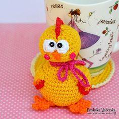 Handmade crochet funny chicken coaster by VendulkaM on Etsy