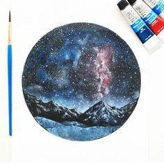 Мои закладки Tattoo Painting, Painting & Drawing, Watercolor Art Diy, Watercolor Paintings, Watercolors, Circle Art, Galaxy Painting, Diy Art, Art Boards