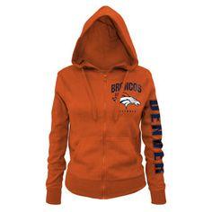 8dae88c86 Women s New Era Orange Denver Broncos Playbook Glitter Sleeve Full-Zip Hoodie  Full Zip Hoodie